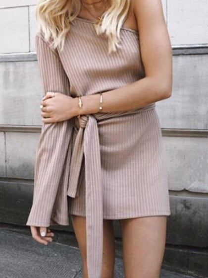 Pink One Shoulder Flared Sleeve Tie Waist Ribbed Mini Dress