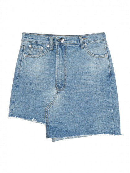Blue High Waist Raw Hem Asymmetric Denim Mini Skirt