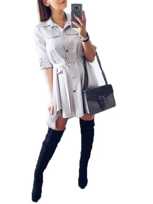 Gray Button Placket Tie Front Long Sleeve Mini Dress