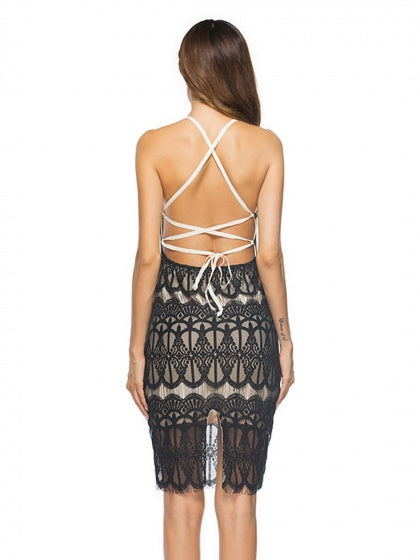 Black Strap Back Cross Backless Bodycon Lace Dress