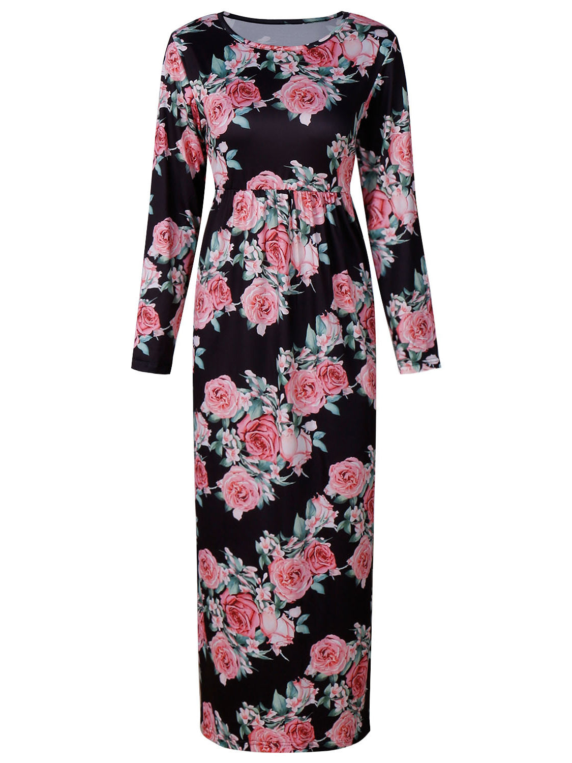 Black Floral Long Sleeve Maxi Dress