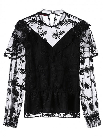 Black High Neck Embroidery Sheer Mesh Panel Blouse
