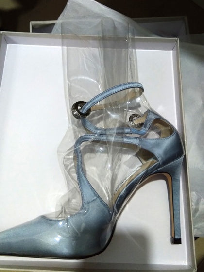 Blue Transparent Panel Chic Women Pointed High Heeled Pumps