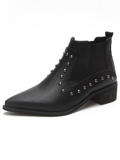 Black Studs Detail Pointed Toe Ankle Chelsea Boots