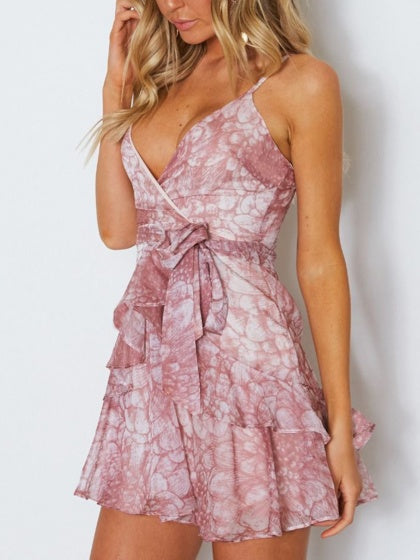 Purple Plunge Floral Print Ruffle Trim Cami Mini Dress