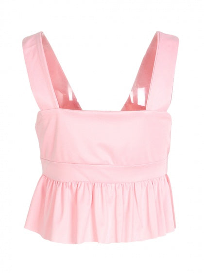 Pink Deep V-neck Peplum Crop Top