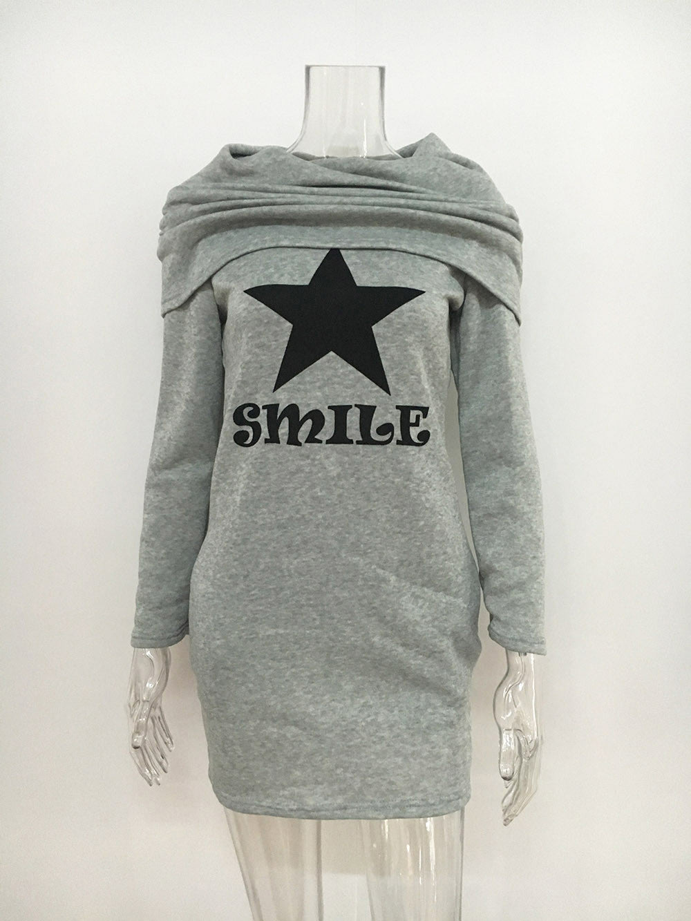 Gray Cowl Hooded Neck Star Print Sweat Dress