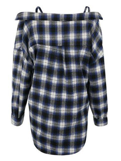 Blue Plaid Spaghetti Strap Longline Shirt