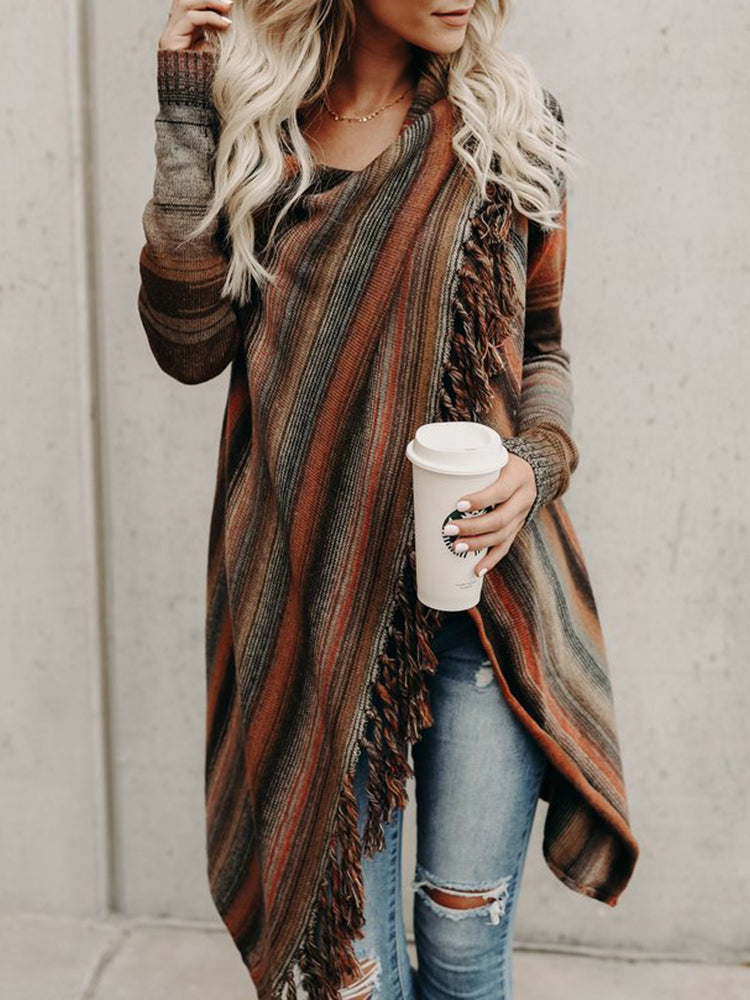 Orange Contrast Stripe Tassel Trim Long Sleeve Cardigan