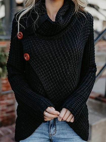 Black High Neck Button Front Long Sleeve Chic Women Knit Sweater