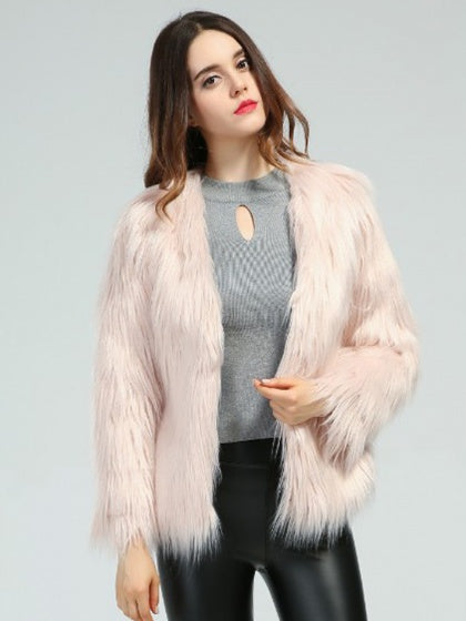 Pink Fluffy Long Sleeve Faux Fur Coat