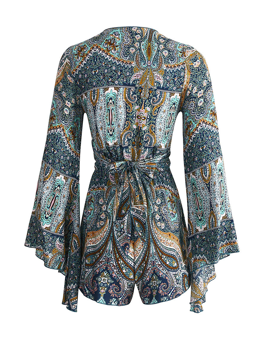 Blue Plunge Tie Front Flare Sleeve Romper Playsuit