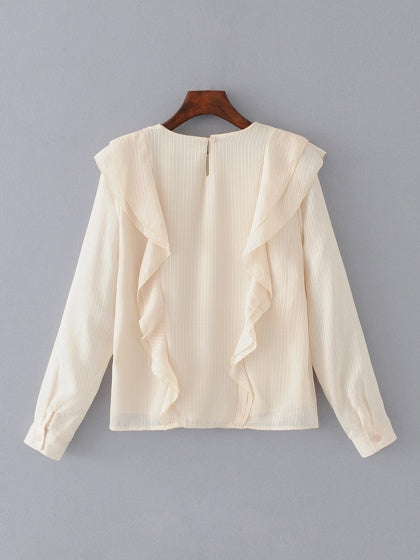 Beige Ruffle Detail Long Sleeve Blouse