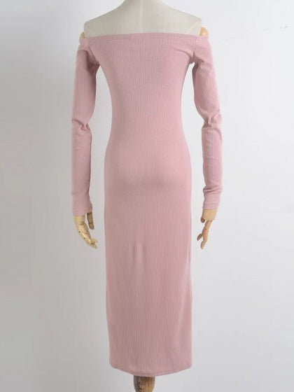 Pink Ribbed Off Shoulder Button Placket Front Long Sleeve Midi Dress