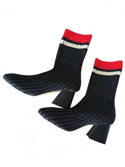 Black Stripe Cuff Sports Poll On Knitted Sock Boots