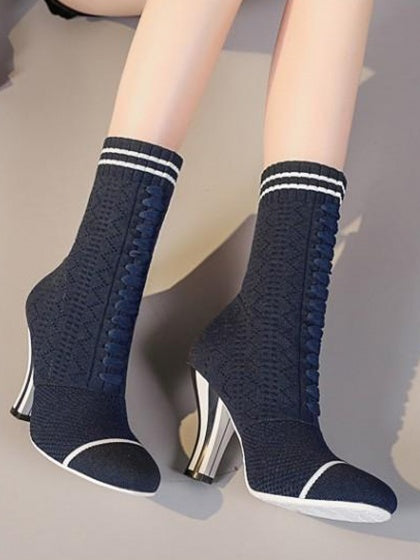 Blue Contrast Stripe Lace Up Knit Heeled Boots