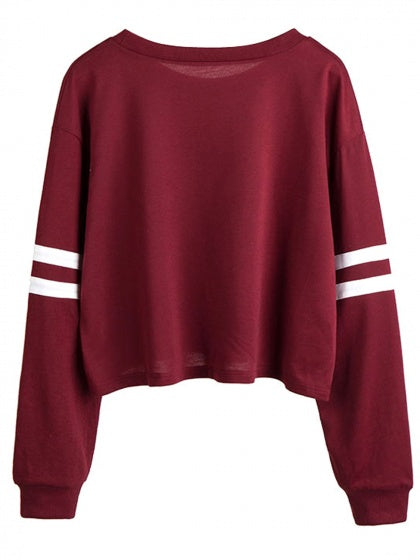 Burgundy Alien Print Long Sleeve Sweatshirt