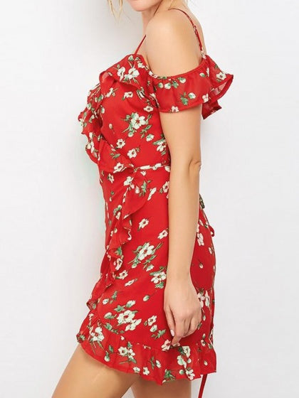 Red Cold Shoulder V-neck Floral Print Ruffle Trim Cami Mini Dress