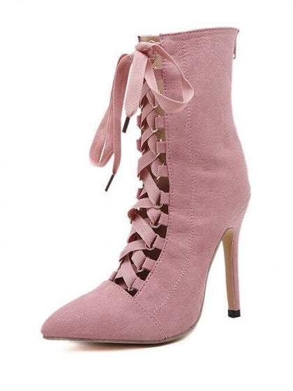 Pink Faux Suede Pointed Lace Up Heeled Boots