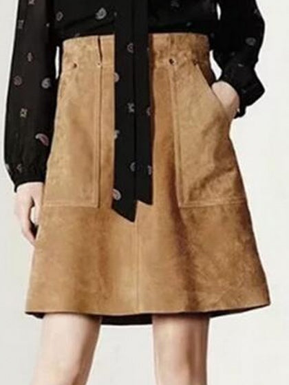 Khaki High Waist Suedette Pocket A-line Skirt