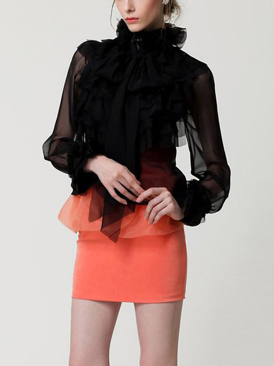 24c5e4681b Black High Neck Bow Tie Front Layered Ruffle Sheer Shirt – MYNYstyle