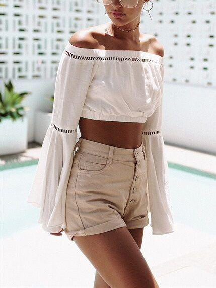White Off Shoulder Cut Out Bell Sleeve Crop Top