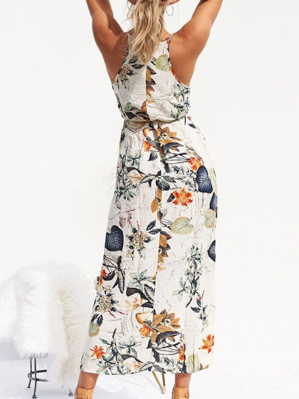 Polychrome Cotton Plant Print Sleeveless Chic Women Maxi Dress