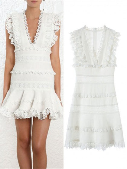 White Plunge Lace Panel Ruffle Trim Sleeveless Women Mini Dress