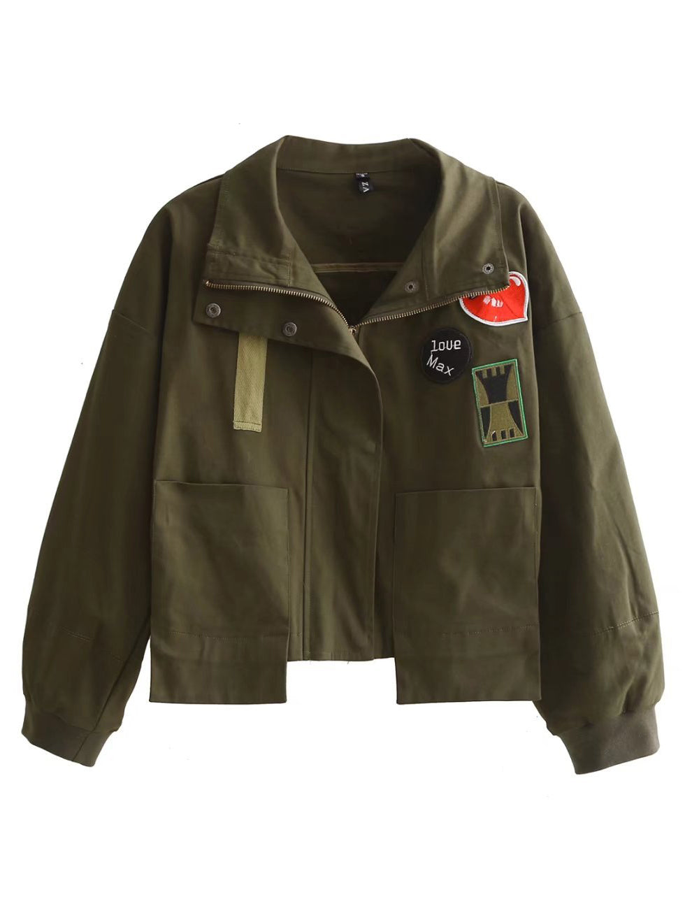 Army Green Embroidery Patches Tassel Back Jacket