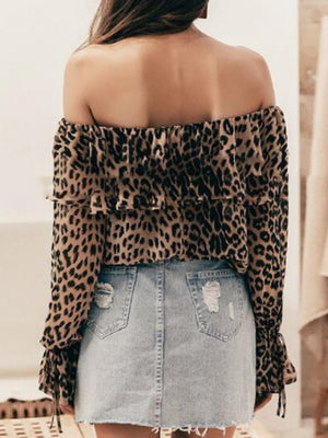 Brown Off Shoulder Leopard Print Puff Sleeve Blouse