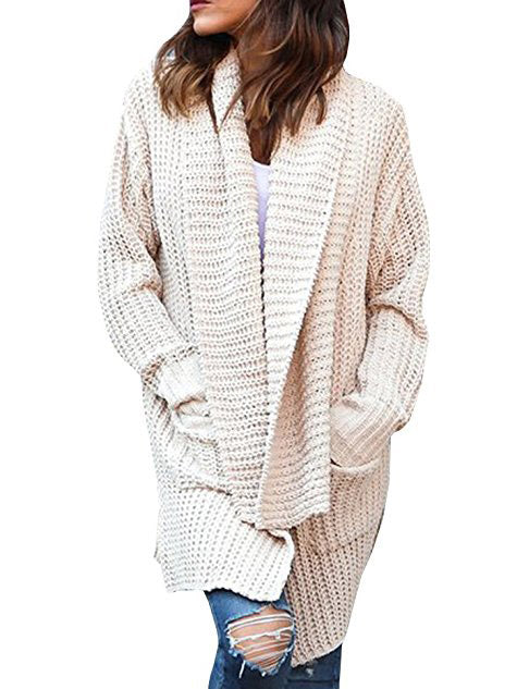 Beige Open Front Long Sleeve Chunky Cardigan