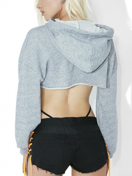 Gray Extreme Cut Out Long Sleeve Drawstring Crop Hoodie