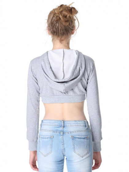 Gray Drawstring Long Sleeve Cropped Hoodie