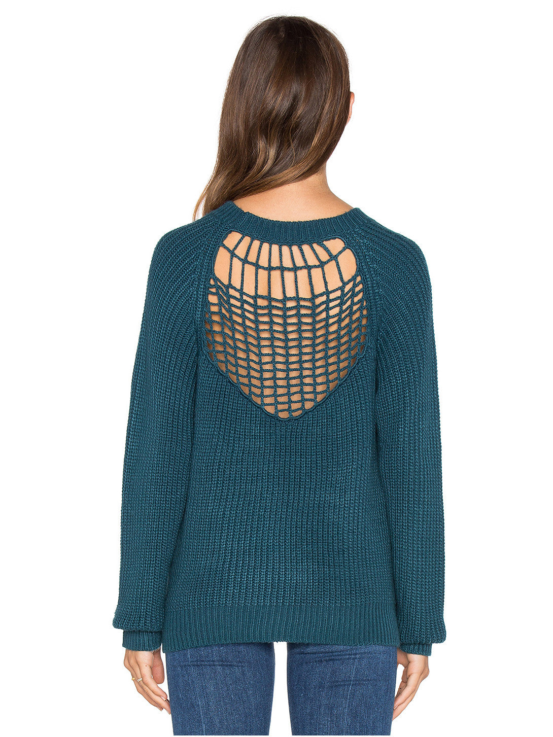 Green Lattice Caged Cut Out Knit Sweater