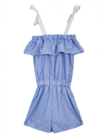 Blue Stripe Tied Off Shoulder Ruffle Romper Playsuit