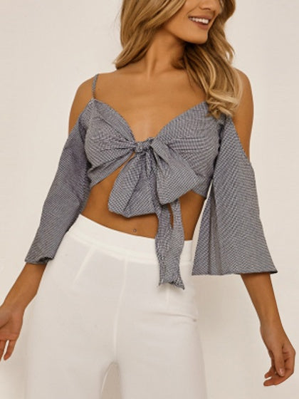 Black Plaid V-neck Cold Shoulder Knot Front Flare Sleeve Blouse