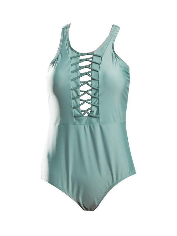 Green Lace Up Front Swimsuit