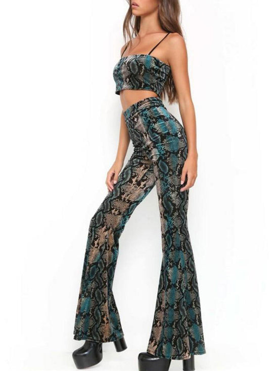 Green Snakeskin Spaghetti Strap Crop Top And Flare Pants