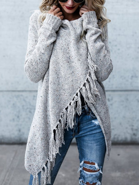 Light Gray Tassel Trim Long Sleeve Cardigan
