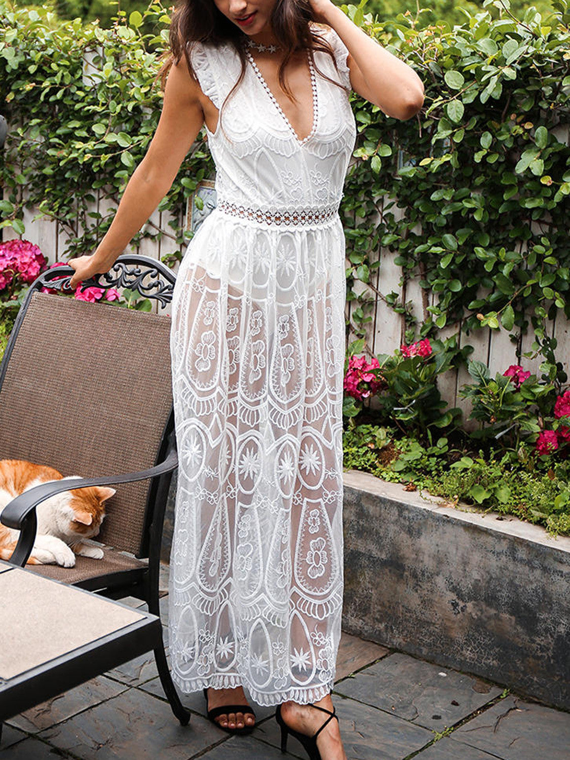 White Plunge Sheer Lace Frill Open Back Sleeveless Maxi Dress