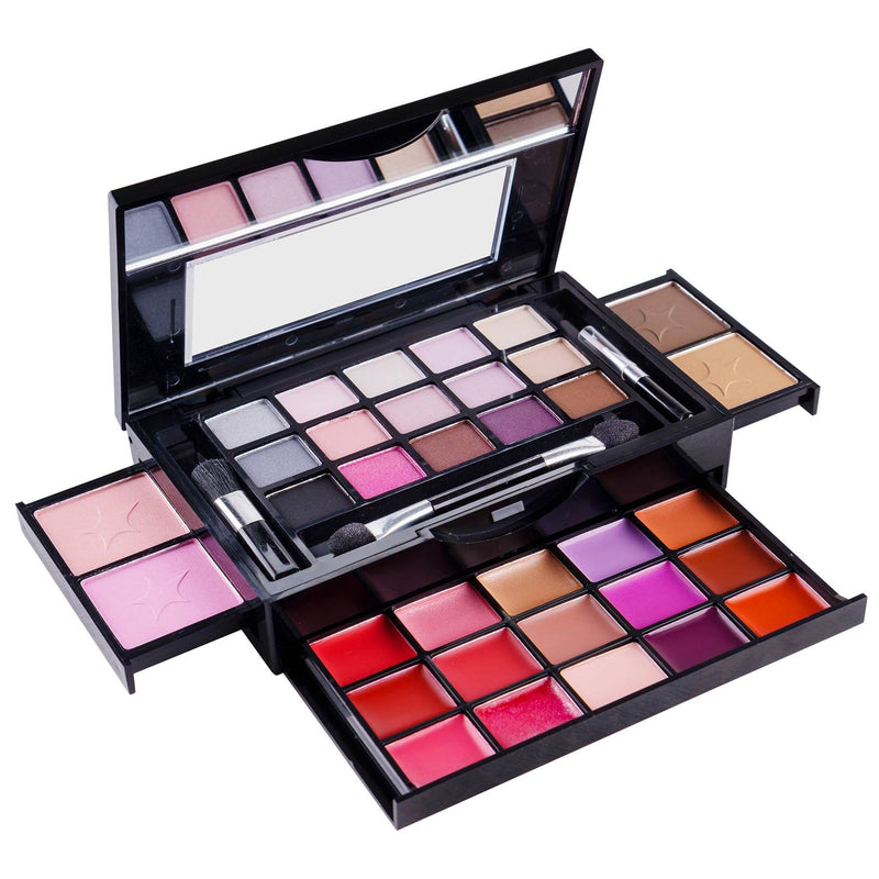 SHANY Fierce & Flawless All-in-One Makeup Set Compact with Mirror, 15 Eye Shadows, 2 Bronzers, 2 Blushes and 15 Lip/Eye Glosses - Applicators Included - SHOP  - MAKEUP SETS - ITEM# SH-4003