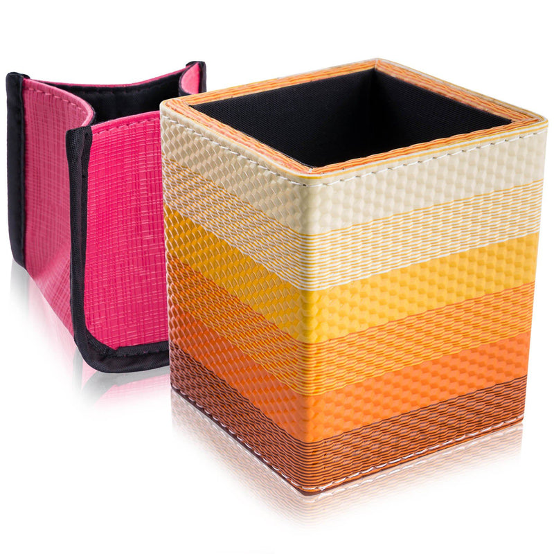 SHANY Cosmetics 2-in-1 Water-resistant Makeup Brush Holder with Removable Cosmetics Organizer Insert - Orange Sherbet - SHOP ORANGE SHERBET - BRUSH HOLDERS - ITEM# SH-BRHL02