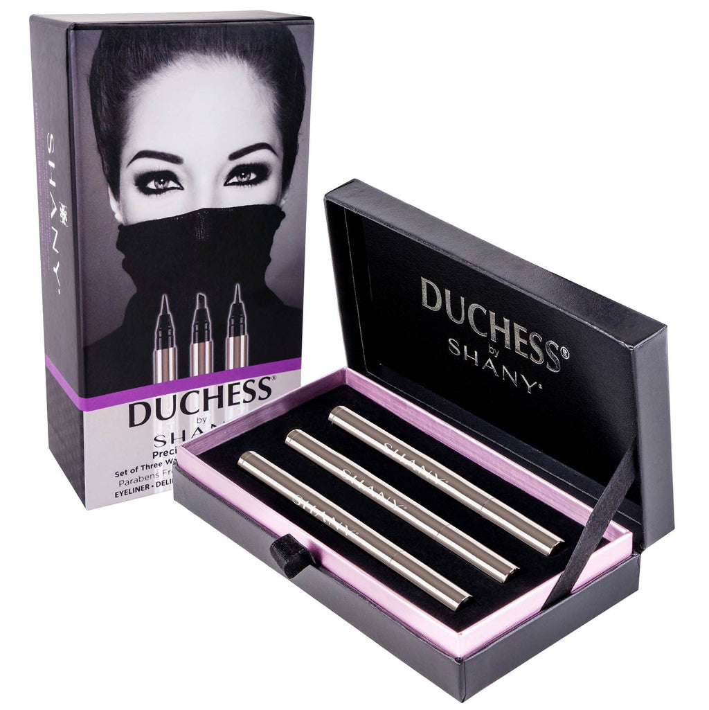 DUCHESS by SHANY - Set of 3 Black Waterproof Liquid Eyeliners with Paraben-free Formula and Aloe Vera - Precision Collection - SHOP  - EYELINER - ITEM# SH-LQEYE-SET01