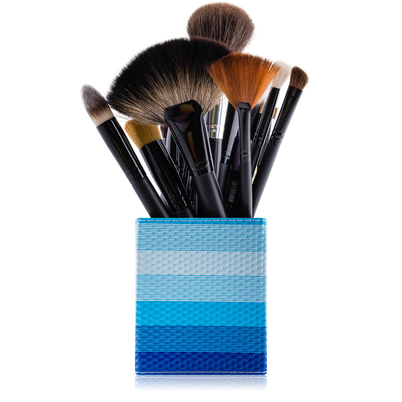 SHANY Makeup Brush Holder - Grecian Blue - GRECIAN BLUE - ITEM# SH-BRHL01 - makeup brush holder bag display pencil pen holder,Make-up cosmetics brush holder display storage,organizer professional compartments part Portable,applicator brush holder storage brush bag pouch,makeup organizer pen organizer cosmetics pouch set - UPC# 616450440299