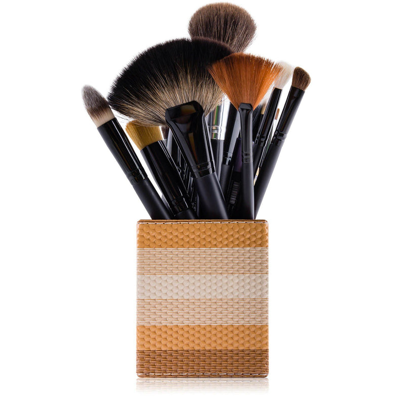 SHANY Makeup Brush Holder - Bronzed Caramel - BRONZED CARAMEL - ITEM# SH-BRHL08 - makeup brush holder bag display pencil pen holder,Make-up cosmetics brush holder display storage,organizer professional compartments part Portable,applicator brush holder storage brush bag pouch,makeup organizer pen organizer cosmetics pouch set - UPC# 616450440367