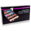 SHANY Classy & Sassy All-in-One Kit with 45 Colors, 6 Applicators, and 1 Mirror -  - ITEM# SH-4001 - This one-stop, portable kit rivals celeb makeup pros' arsenal. Match any outfit, catch the red-eye, enlist army greens, or create multi-colored cat-eyes; all fresh-off-the-catwalk trends. The extendable trays hold 24 e