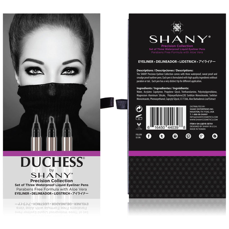 SHANY Set of 3 Black Waterproof Liquid Eyeliners -  - ITEM# SH-LQEYE-SET01 - Best seller in cosmetics EYELINER category