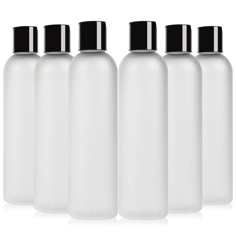 SHANY Frosted Plastic PET Cosmo Bullet Squeeze Bottle / Flip Cap Lid - Portable Liquid Container in Travel Size Bottle - BPA-Free - Set of 6, 8oz - SHOP 6 x 8 OZ - CONTAINERS - ITEM# SH-PCG8OZ-X6