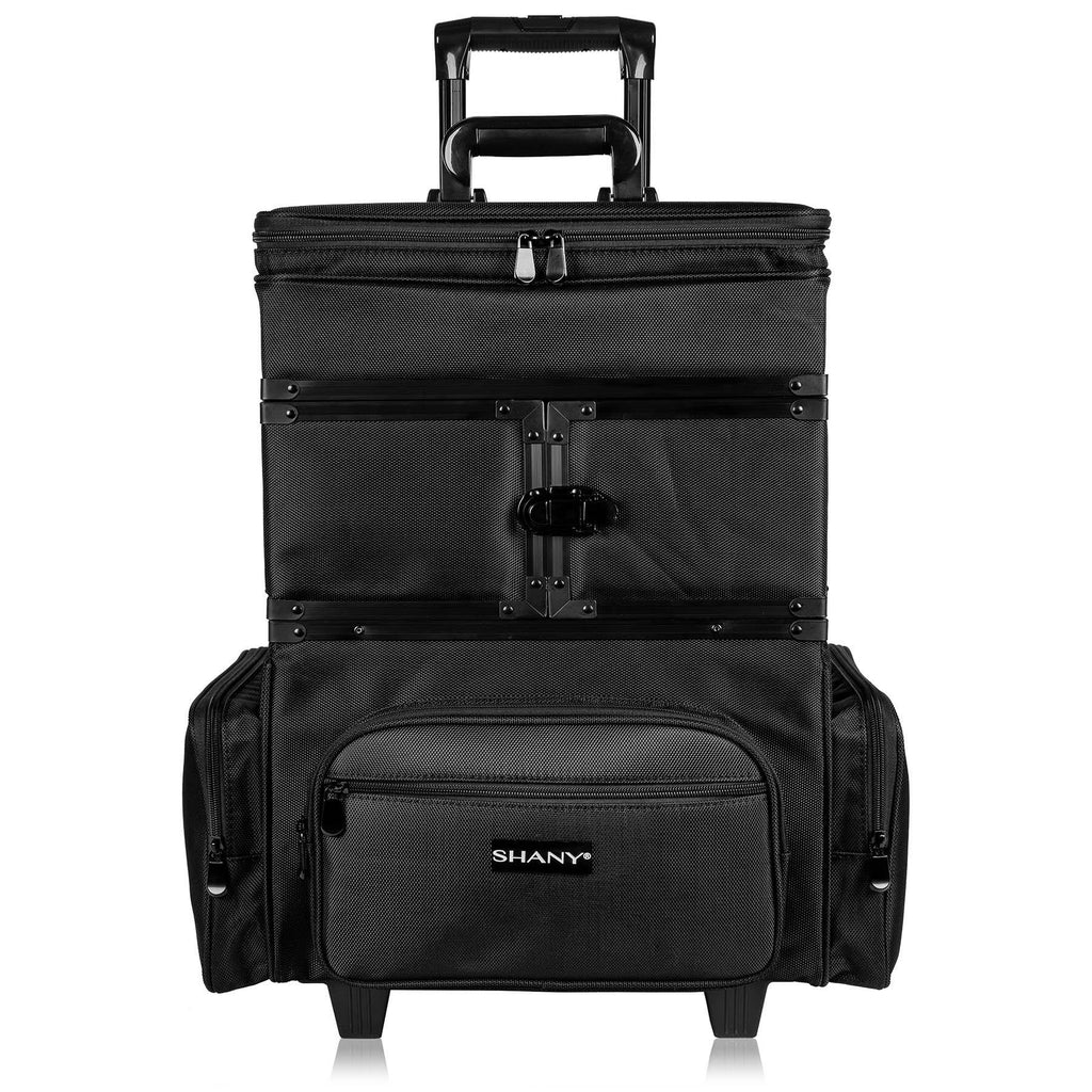 SHANY Large Travel Makeup Trolley Storage Case - Rolling Cosmetics Case with Detachable Sections and Multiple Compartments - BLACK - SHOP  - ROLLING MAKEUP CASES - ITEM# SH-P30-BK