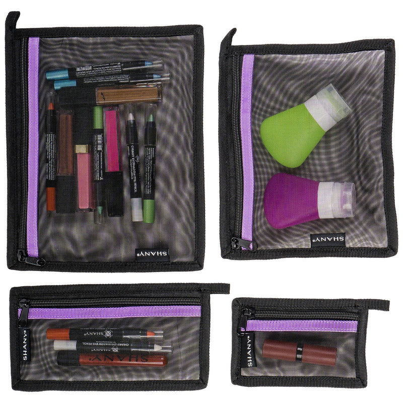 SHANY 4-in-1 Mesh Travel Makeup Bag Set -  - ITEM# SH-MB400-BK - Cosmetic toiletry bag organizer pouch purse travel,Makeup women girls train case box storage holder,Kate spade victorias secret hello kitty lesportsac,Container handbag gadget zipper portable luggage,Large small hanging compartment professional kits - UPC# 700645933823